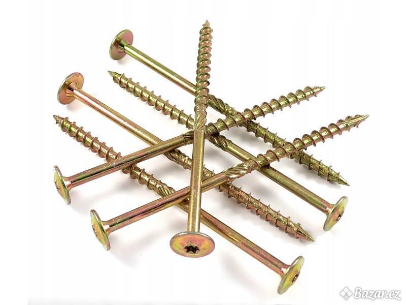 Konstrukční tesařské vruty, Torx, více rozměrů, dobré ceny zápustná i talířová hlava